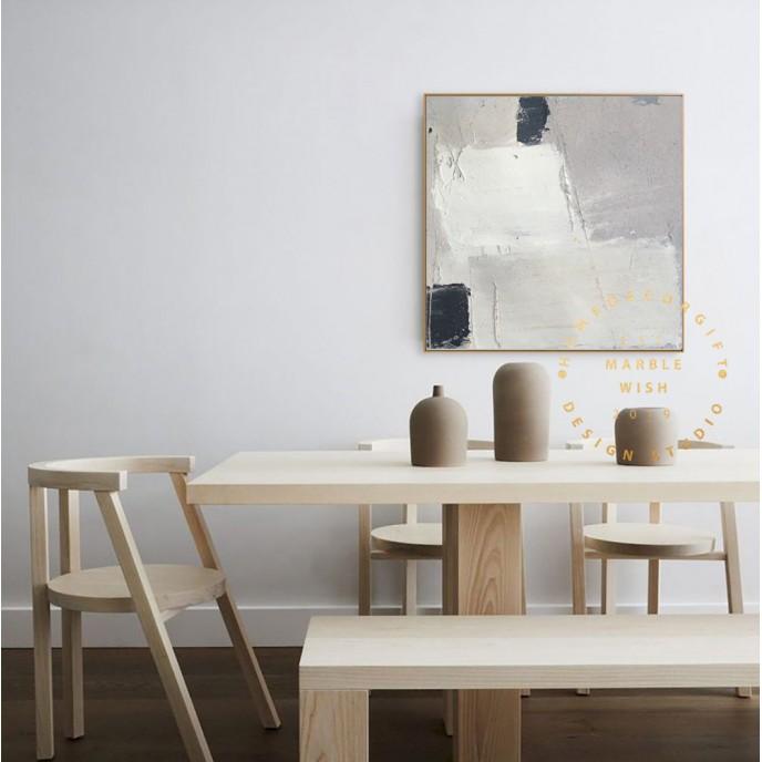 Large Modern Art, Boho Abstract Painting Minimalist Art, Dinning Room Wall Art Decor Canvas Painting, White Abstract Painting, Beige Art