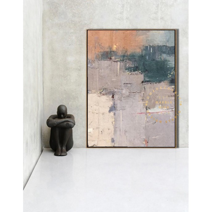 Abstract Art, Large Original Purple Abstract Painting Contemporary Oil Paintings, Beige Painting Orange Painting, Oversized Scandinavian Art