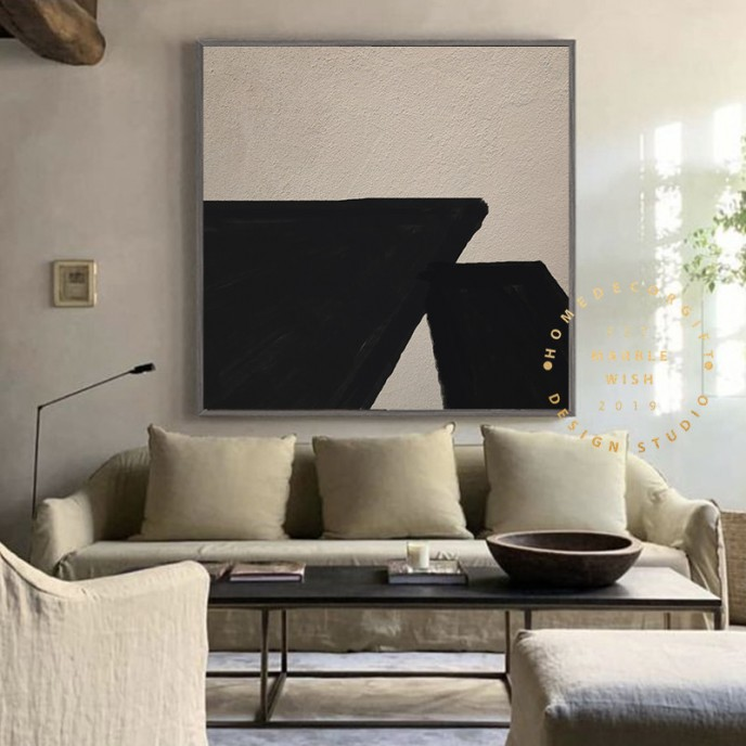 Large Abstract Beige And Black Painting, Original Abstract Painting, Oversized Mural Wall Decor, Modern Texture Abstract, Living Room Art