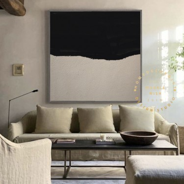 Large Abstract Painting, Nordic Black Painting Beige Painting, Minimalist Post Modern Abstract Painting,Hallway Abstract Paiinting on Canvas