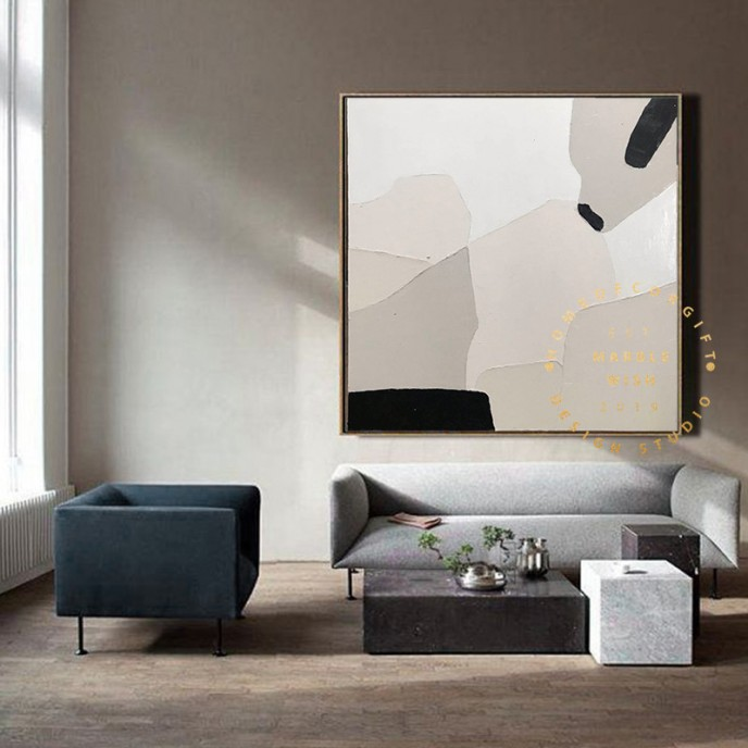Large Abstract Painting on Canvas, Beige Abstract Painting, Nordic Abstract Painting, Living Room Abstract Painting, Boho Abstract Wall Art