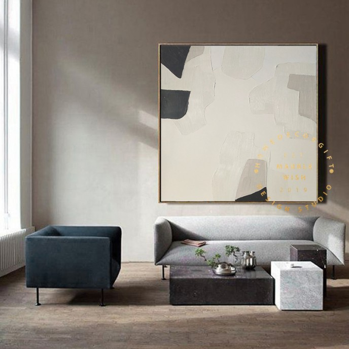 large original Nordic gray and beige abstract painting minimalist Art Beige abstract painting,Abstract grey and beige minimalist painting