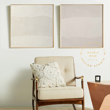Set of 2 Beige Abstract Painting for Living Room, Boho Abstract Painting, Large Abstract Canvas Painting for Wall Decor, Antique Paintings
