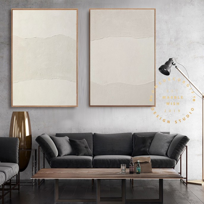 Large Abstract Painting, Beige Painting on Canvas, Beige Abstract Painting, 3D textured Painting, set of 2 Modern Wall Art, Scandinavian Art