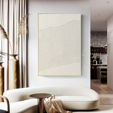 Large Abstract Painting Wall Art Decor, Original Beige Living Room Paintings on Canvas, Extra Large 3D textured Painting, Beige Abstract