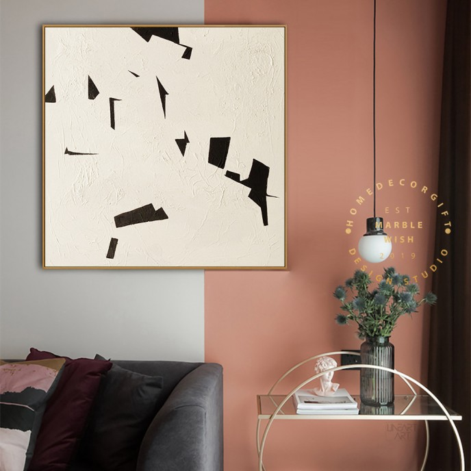 Extra Large Original Beige and Black Abstract Painting For Living Room Contemporary Oil Paintings, Beige Textured Painting, Boho Minimalist