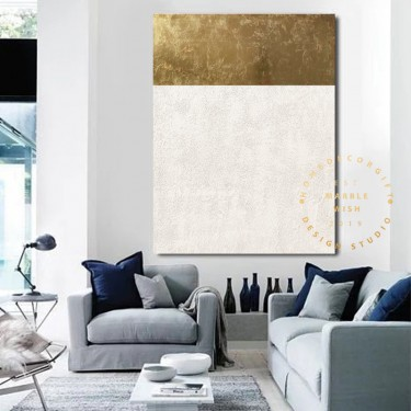 Gold Leaf Canvas Painting, White Gold Painting, Contemporary Gold Painting, Gold Leaf Painting Art Abstract White for Living Room