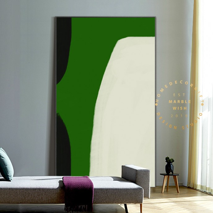 Large Green Abstract Painting, Original Green Canvas Art, Large Minimalist Painting, Green Wall Art, Luxury Green Paintings, Abstract Green