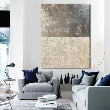 Large Texture Painting, Silver Painting, Modern Silver Leaf Painting Beige Painting, Living Room Art, Large Minimalist Painting Above Bed