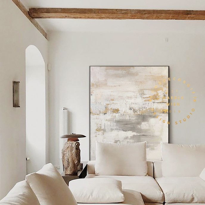 Large Original Beige Abstract Painting For Living Room Contemporary Paintings, White Painting Gray Painting, Oversized Scandinavian Art