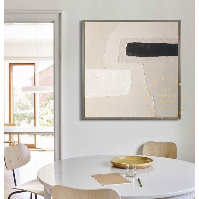 Large Abstract Wall Art, Minimalist Abstract Painting, Beige Painting White Painting, Brush Strokes Abstract Painting,Boho Abstract Room Art