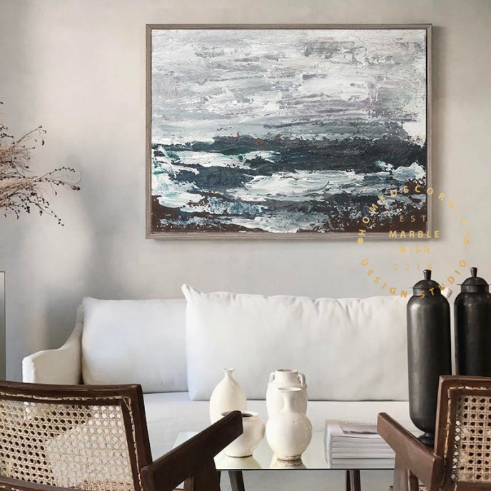 Abstract Canvas Art,Original Black Abstract Blue Abstract White Abstract, Dark Blue Abstract Painting, Modern Landscape Abstract Painting