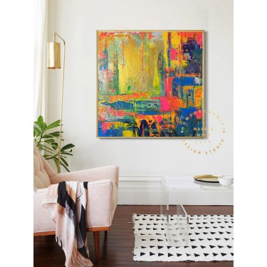 Colorful Painting Large Abstract Paintings Original Living Room, Colorful Abstract Art, Pink and Gold Painting Modern Large Abstract