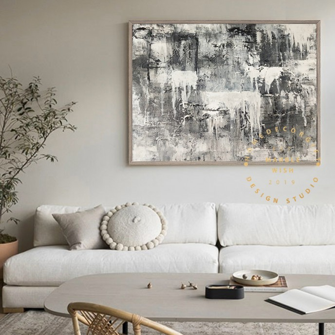 Black and White Abstract Painting, Gray Painting, Original XXL Large Abstract Painting, Gray Textured Canvas Wall Art, Industrial Abstract