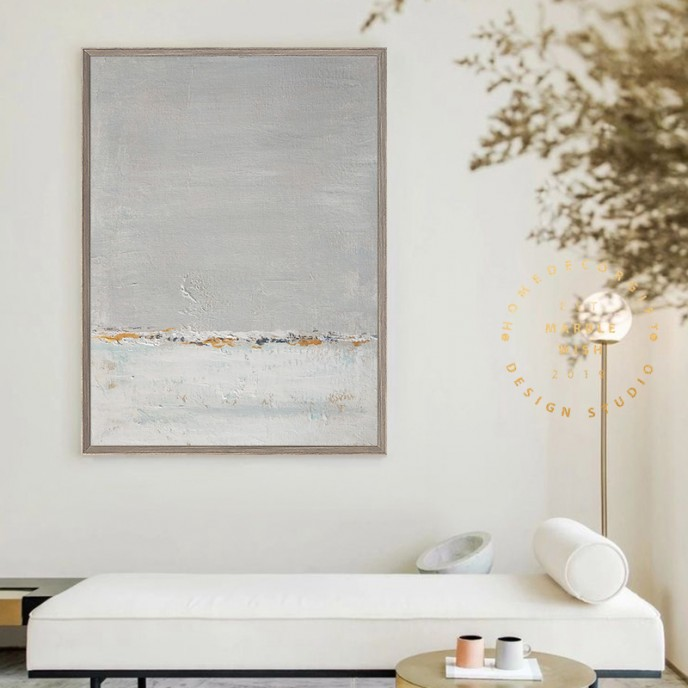Minimal Gray and White Canvas Wall Art, Large Abstract Painting, Oversized Wall Art, Gray Abstract Painting, Minimalist Wall Art, Large Art