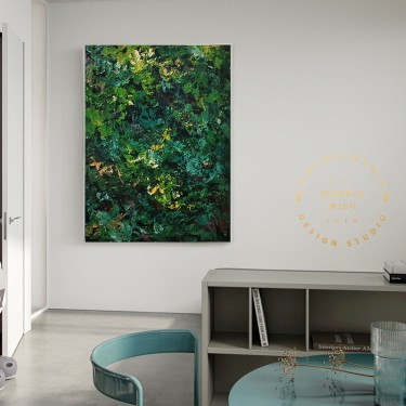 Large Green Leaves Abstract Painting, Green Abstract Mural, Green Painting on Canvas, Large Wall Canvas Painting,Large Original Abstract Art