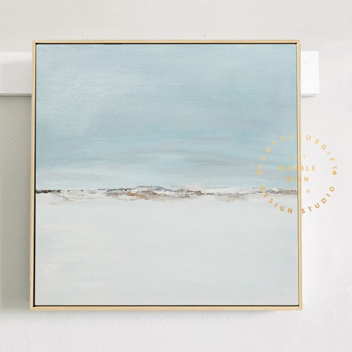 Light Blue Canvas Abstract Art Soft Blue Abstract Painting