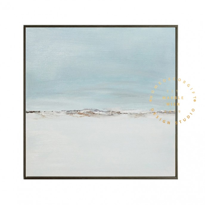 Light Blue Canvas Abstract Art, Soft Blue Abstract Painting for Living Room, Modern Blue Abstract Wall Art, Oversize Light Blue Painting
