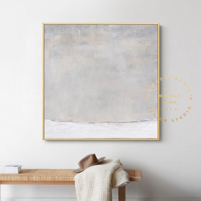 Canvas Abstract Art, Extra Large Oil Paintings On Canvas, White Painting Gray Painting, Minimalist Painting for Living Room, Neutral Decor