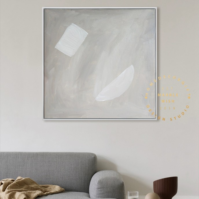 Abstract Neutral Painting, Boho Painting, Minimal Wall Art Decor for Living Room, Calming Neutral Abstract Painting For Interior Design- geo