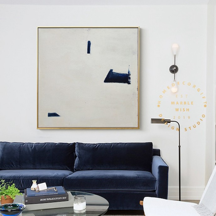 Large White Painting on Canvas, Original Contemporary Art Modern Oil Painting for Living Room, Navy Blue Painting, Minimal Abstract Painting
