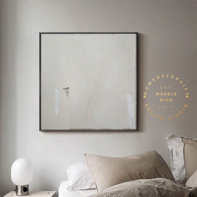 Large Original Beige Abstract Painting For Living Room Contemporary Oil Paintings, White Painting Beige Painting, Oversized Scandinavian Art
