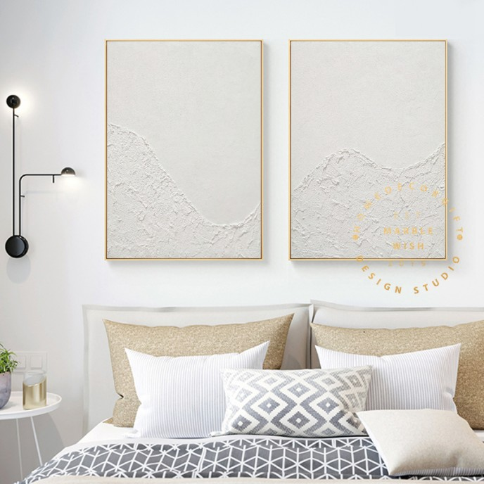 Large Set of 2 Painting, 2 piece Wall Art Canvas, 3D White Painting, White Abstract Art, 2 Pieces Minimal Wall Art Set, Modern Wall Art