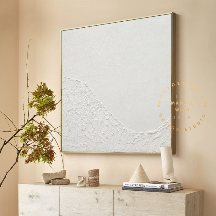 Large White 3D Textured Painting, Abstract White Painting, White Acrylic Paintings, Minimalist Abstract Wall Art for Living Room Art Decor