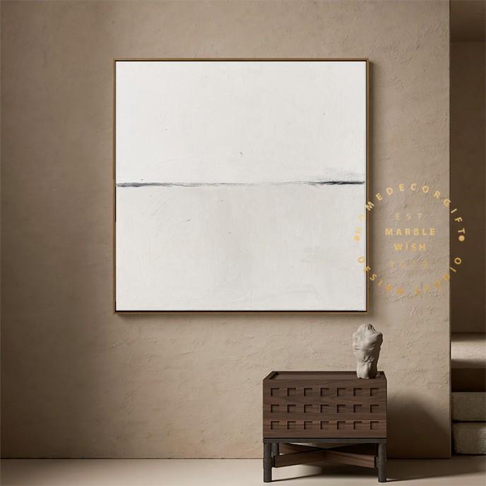 Large Neutral Beige Abstract Painting, Scandinavian Wall Art, Minimal Abstract Wall Art, Japandi Wabi-Sabi Abstract Painting for Interior
