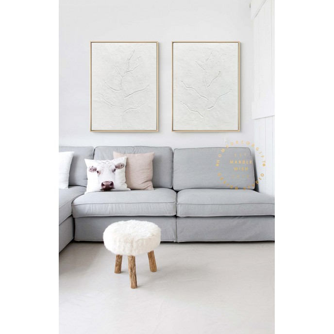 2 piece Wall Art Canvas, Large Set of 2 Painting, 3D White Painting,White Abstract Tree Art,2 Pieces Minimal Wall Art Set, Modern Relief Art