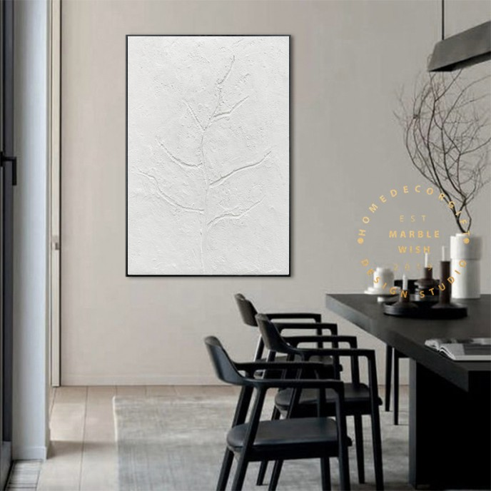 Large White Textured Tree Painting, Abstract White Painting, 3D White Art, Branches Art, Minimalist Abstract Painting for Dining Room Decor