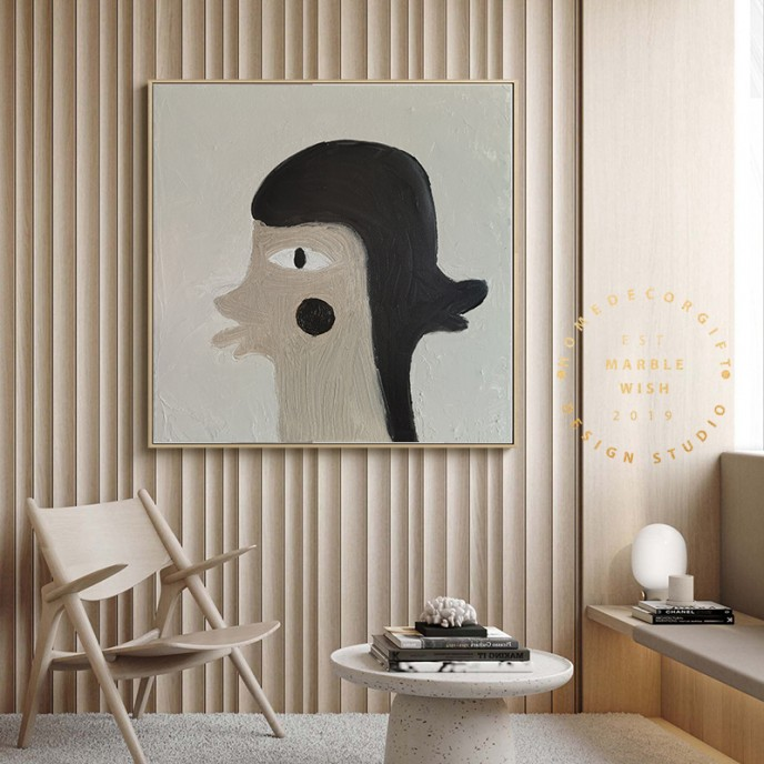 Large Neutral Painting, Double Face Oil Painting, Figure Painting, Gray Painting Gray Art for Bedroom Interior Decor, Face Abstract Painting