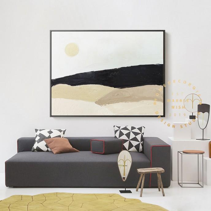 Large Landscape Painting, Yellow Landscape Art, Warm Color Landscape Paintings on Canvas, Bohemian Landscape Painting for Living Room Decor