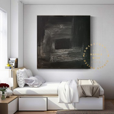 Black Canvas Abstract Art Painting, Black Painting, Black Abstract, Modern Hallway Painting, Living Room Art Decor, White and Black Art