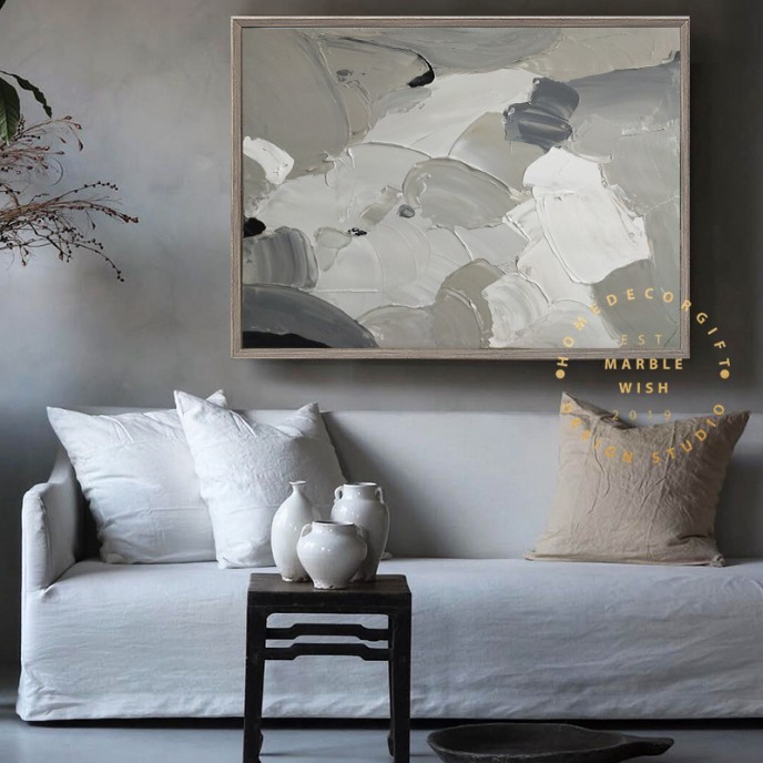 Gray Abstract Canvas Art, 3D Abstract Painting, Gray Painting Neutral Canvas Art, Minimal 3D Textured Painting, Living Room Art, MarbleWish