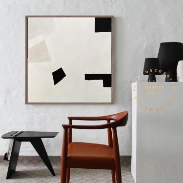 Minimal Modern Art, Canvas Abstract Art, White Abstract Painting, Beige Abstract, Gray Abstract, Living Room Modern Art, Painting on Canvas