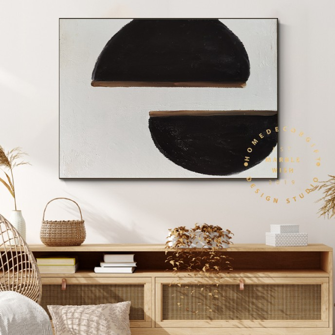 Minimal Abstract Painting, Black and White Painting, Beige Painting, Large Cream Painting, Modern Art, Paintings Original on Canvas Wall Art