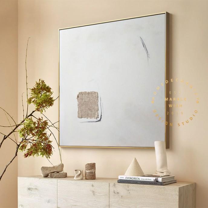 Minimal White Abstract Painting, Minimalist Abstract Wall Art, Scandinavian Wall Art, Japandi Wabi-Sabi Abstract Painting for Home Decor