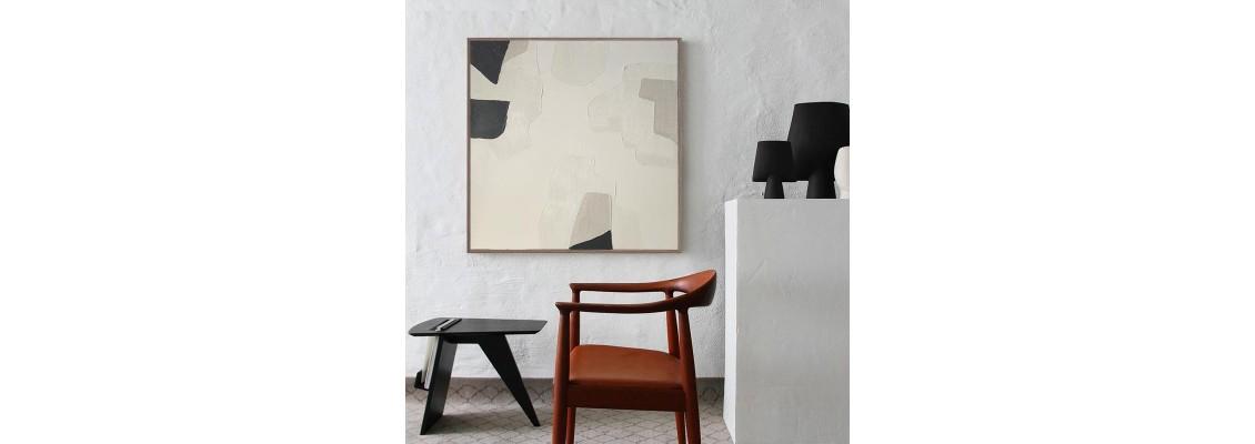 Minimal Beige Abstract Paintings Series