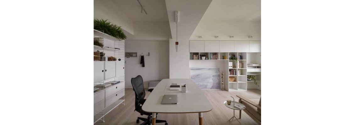 White apartment design with home office